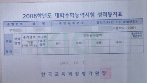 A report card of CSAT, university entrance exam in Korea
