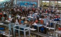 Crowded security area in the Denver airport.