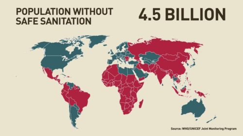 Highlighted map showing countries where 4.5 billion people without safe sanitation live.