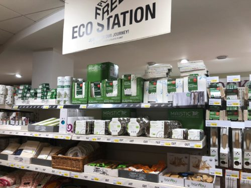 Plastic free eco-station in Thornton's Budgens.