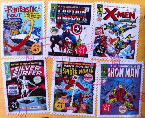 These US postage stamps show covers of Marvel comic books.