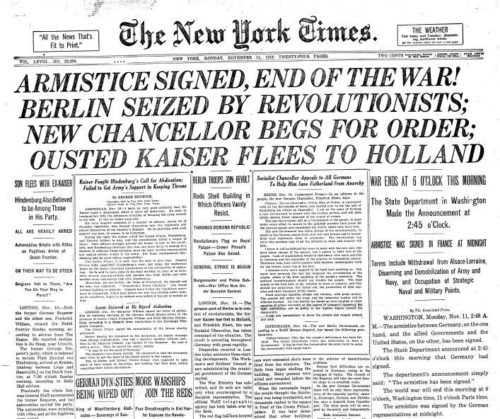 Armistice Day page from the New York Times, 1918-11-11 ed. Charles Ransom Miller (1849–1922)