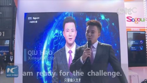 "Real Xinhua anchor Qiu Hao in front of his digital copy, saying, ""I'm ready for the challenge."""