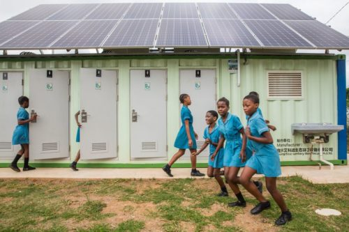 Children at the Gugulethu Primary School in KwaMashu just outside of Durban in KwaZulu-Natal on 19 September 2018. The Gugulethu School is a recipient of a new EcoSan toilet system care of the Reinvent the Toilet Challenge and funding from the BMGF.