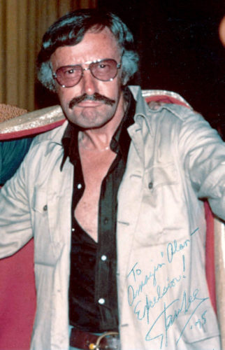 "Photo of Stan Lee at the 1975 San Diego comic con, with the text ""To amazin' Alan - Excelsior! Stan Lee '75"""