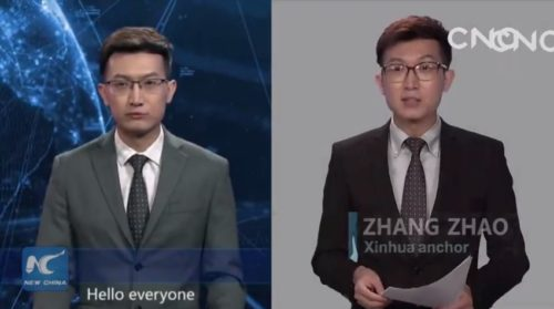Picture of real Zhang Zhao and computer created version of him.