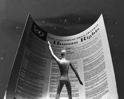 """Universal Declaration of Human Rights- Still frame from film """"Universal Declaration of Human Rights""""."""