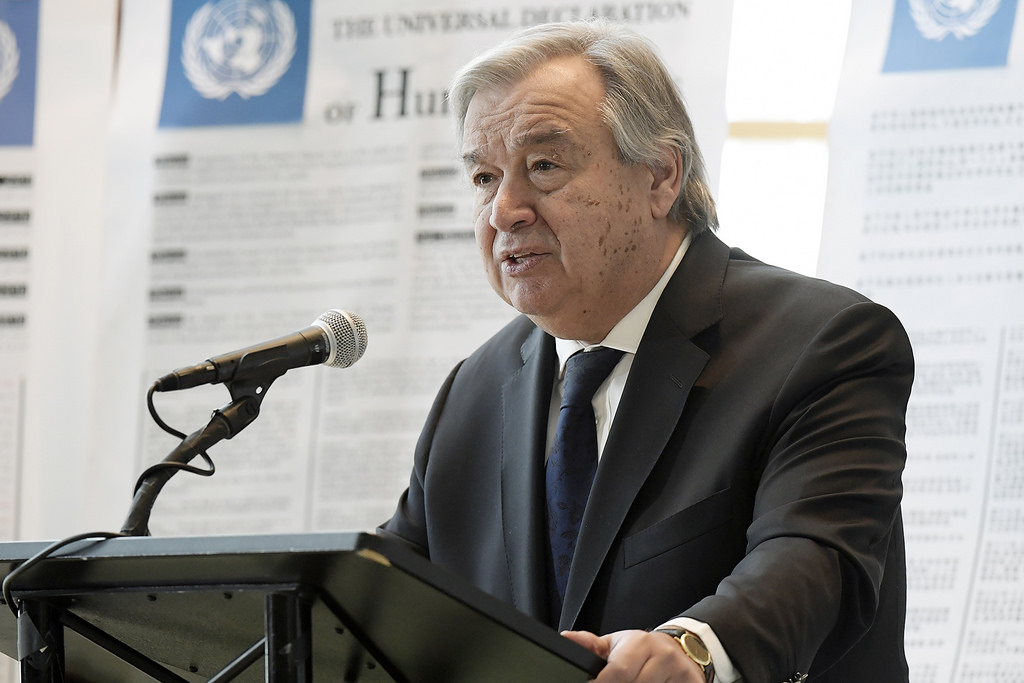 Secretary-General António Guterres gives remarks at a special event in observance of Human Rights Day (10 December) and launch of the campaign for the 70th Anniversary of the Universal Declaration of Human Rights.