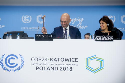 COP24 President Michal Kurtyka brings down the gavel closing the session.