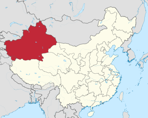 Location of XinJiang province in China