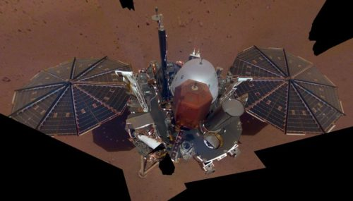 This is NASA InSight's first full selfie on Mars. It shows the lander's solar panels and deck. On top of the deck are its science instruments. The selfie was taken on Dec. 6, 2018.