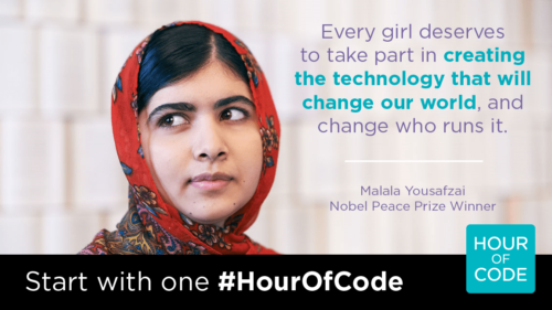 Malala in a promotional poster for the Hour of Code.