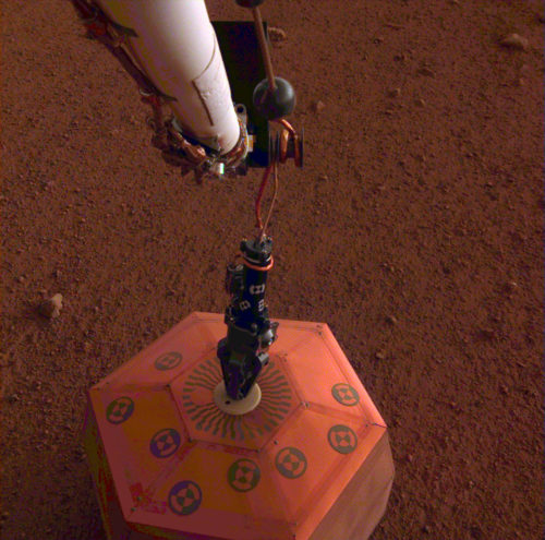 NASA's InSight lander placed its seismometer on Mars on Dec. 19, 2018. This was the first time a spacecraft robotically placed a seismometer onto the surface of another planet.