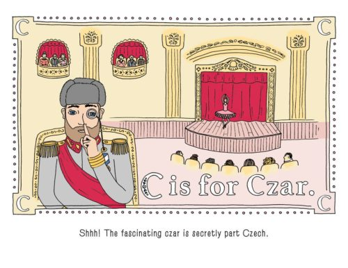 """Page from P is for Pterodactyl saying """"C is for Czar""""."""