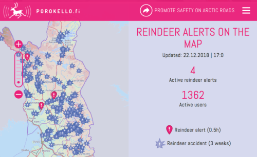 Screenshot of a Porokello map showing where reindeer have been spotted, as well as recent accidents involving reindeer.