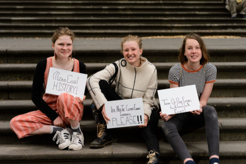 The protests were started by a few year 8 students in Castlemaine, Victoria: Milou Albrecht (left), Harriet O'Shea Carre (center), and Nimowei Johnson (right).
