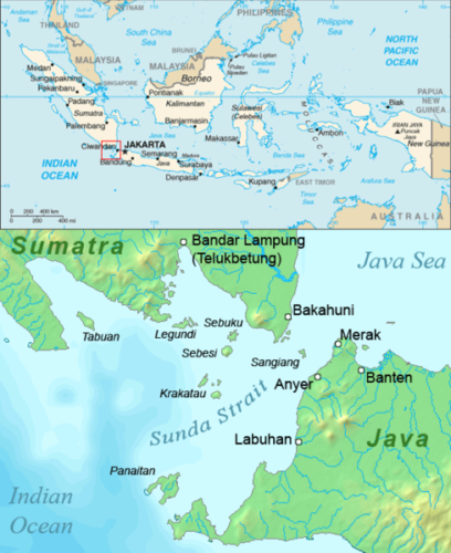 Map of the Sunda Strait, Indonesia.