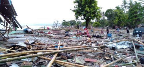 Scenes from a beach in Banten after tsunami struck 23 December 2018