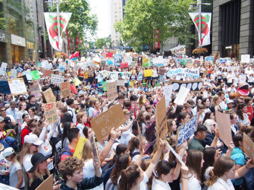 Student strike for climate action protests in Sydney.