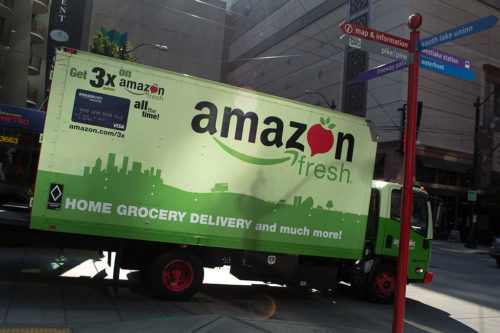 A delivery truck from Amazon Fresh on the streets of Seattle