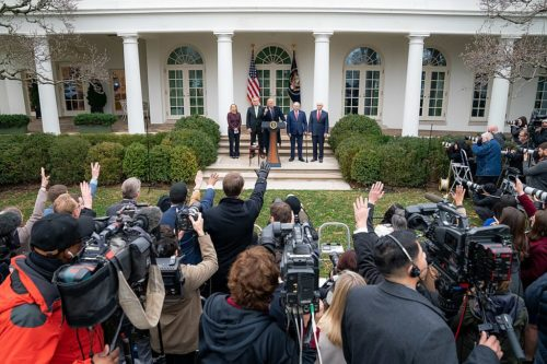 President Donald J. Trump, joined by Vice President Mike Pence, Secretary of Homeland Security Kristjen Nielsen, Congressman Kevin McCarthy, and Congressman Steve Scalise, addresses his remarks from the Rose Garden of the White House following his meeting with Congressional leadership in the Situation Room Wednesday, January 2, 2019.
