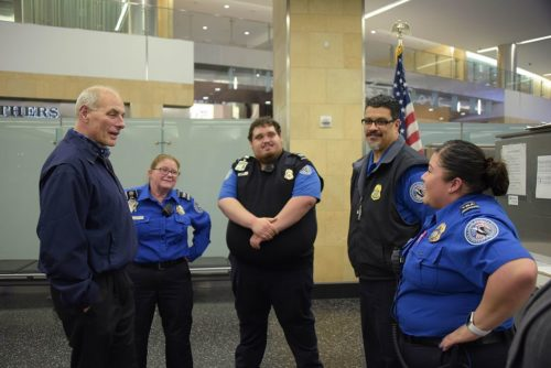 Secretary of Homeland Security John Kelly meets with Transportation Security Administration employees at San Diego International Airport, Feb. 9, 2017.