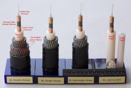 Samples of submarine telecom cables