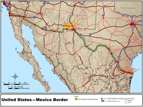 This map shows the 2000 mile (3200 kilometer) border between the US and Mexico.