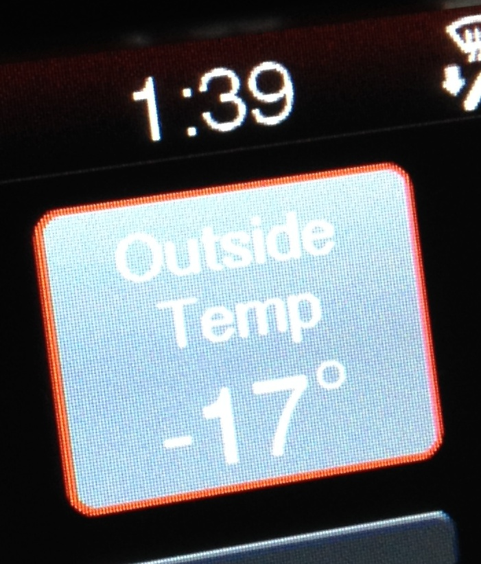 car thermometer showing -17º