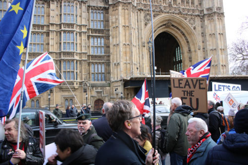 People for and against Brexit protested outside Parliament yesterday.