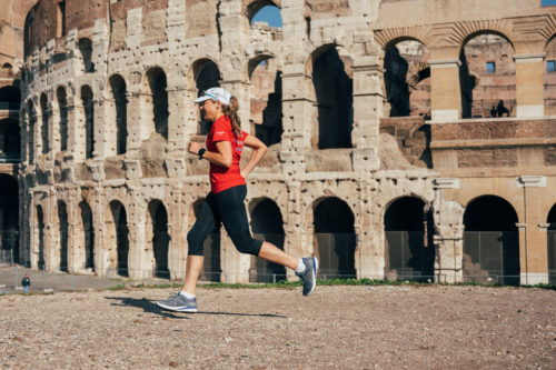 Ultra runner and water campaigner, Mina Guli runs past the Colleseum in Rome, Italy during the #RunningDry Expedition, on 15 November 2018