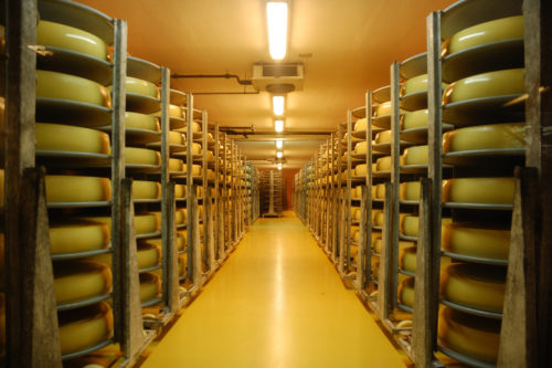 Emmentaler Schaukäserei - cheese stored in a large cheese warehouse in Switzerland.