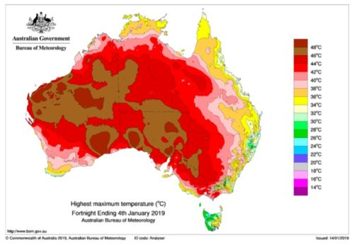 Temperature map of Australia from January 4, 2019.