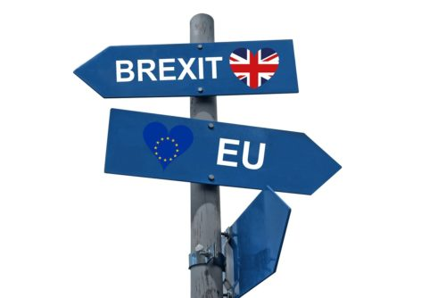 Post with signs pointing opposite ways for the UK and the EU.