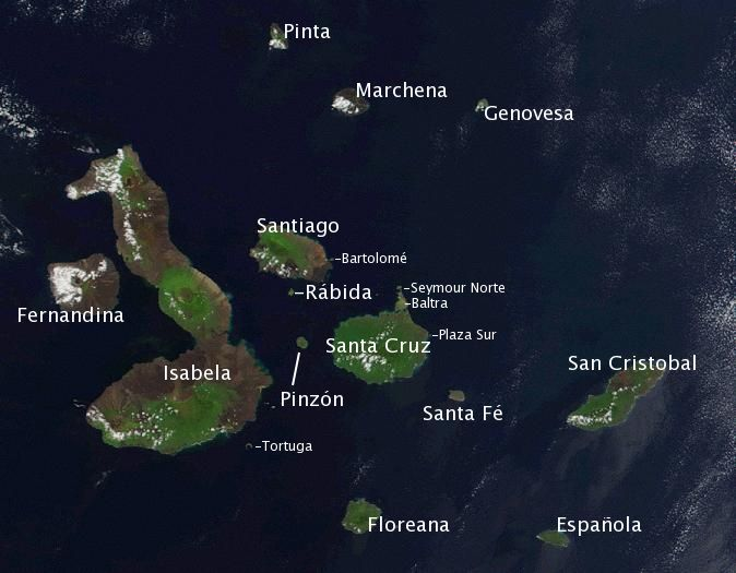 Satellite photo of the Galapagos islands overlayed with the Spanish names of the visible main islands.