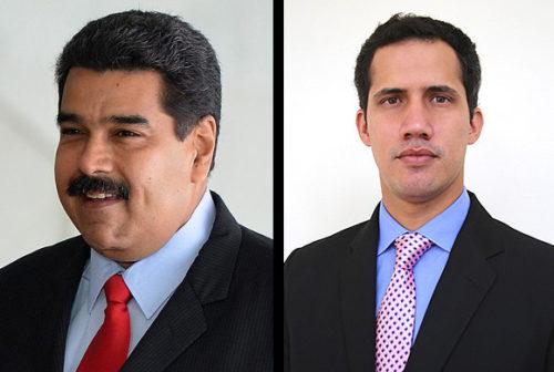 photograph of Nicolás Maduro/photograph of Juan Guaidó