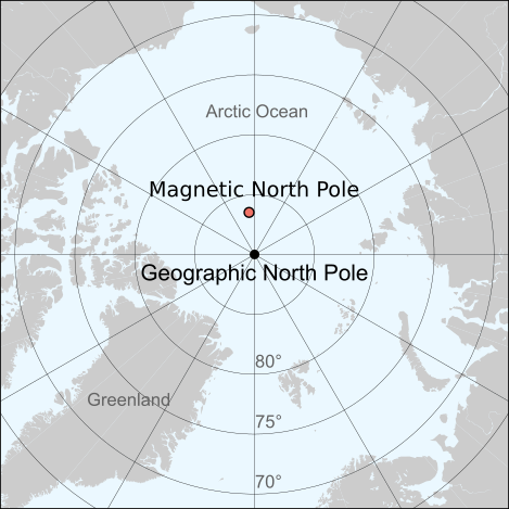 Location of the North Magnetic Pole and the North Geomagnetic pole in 2017, shown on a map together with the geographic north pole. Pole positions are from IGRF-12, as shown on http://wdc.kugi.kyoto-u.ac.jp/poles/polesexp.html