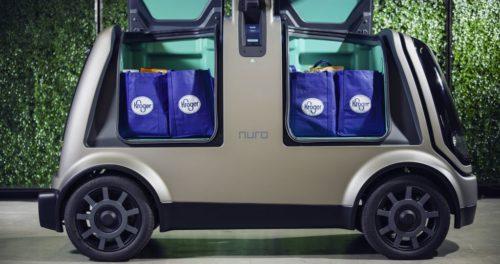 Nuro's R1, doors open showing groceries.