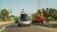 Nuro's R1 driving in traffic in Arizona.