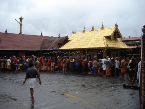 Pilgrims wait in line at Sabarimala.