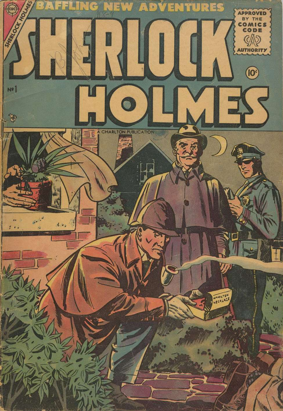 Cover art of Sherlock Holmes #1, Oct 1955, Charlton Comics