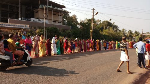 A women's wall was formed in Kerala against casteist and patriarchal interventions in the Sabarimala issue. Lakhs of women from different walks of life came together to show solidarity to the movement for equal rights for women.