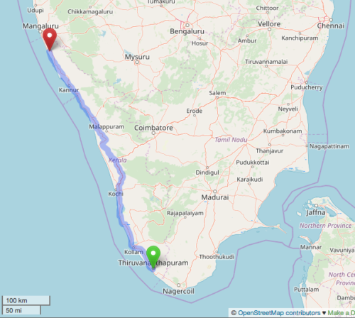 Map showing 385 mile line in Kerala, India where women formed a human chain.