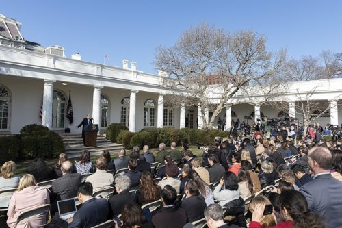 President Donald J. Trump delivers remarks Friday, Feb. 15, 2019, in the Rose Garden of the White House, on the national security and humanitarian crisis on the southern border of the United States. (Official White House Photo by Joyce N. Boghosian)