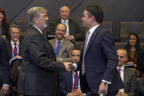 NATO Allies sign Accession Protocol for the future Republic of North Macedonia. Spiros Lambridis, Permanent representative of Greece congratulating the Foreign Minister of the invitee country, Nikola Dimitrov