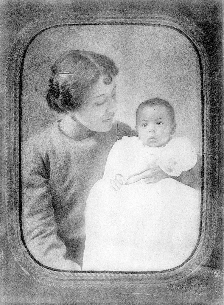 """Langston Hughes as a baby, held by his mother Caroline (""""Carrie"""") Mercer Langston."""