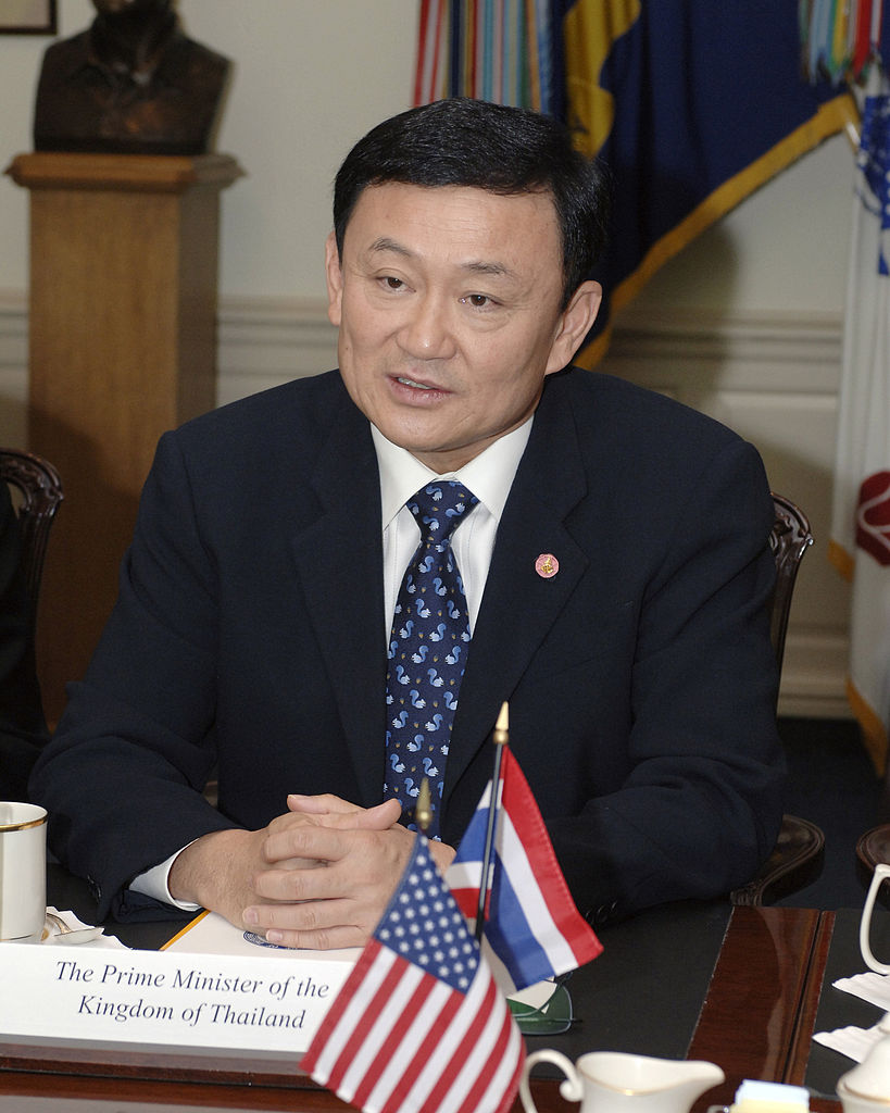 Thailand's Prime Minister Thaksin Shinawatra in a meeting at the Pentagon.