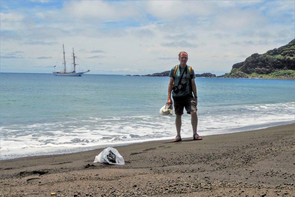 NASA scientist Dan Slayback on the beach of HTTH