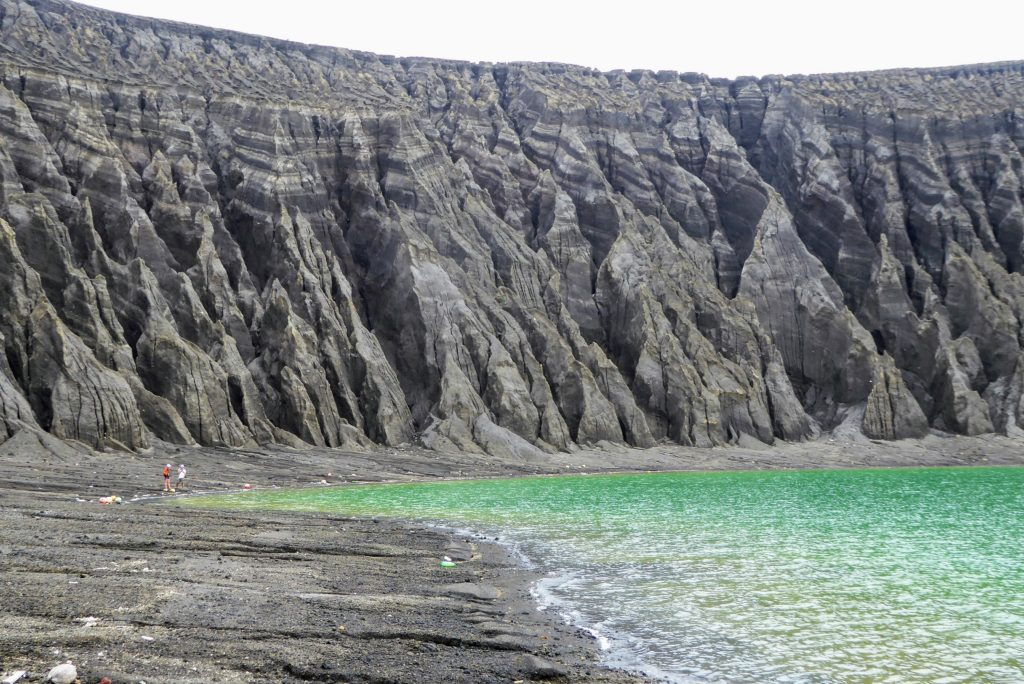 Deeply eroded gullies along the coastline.