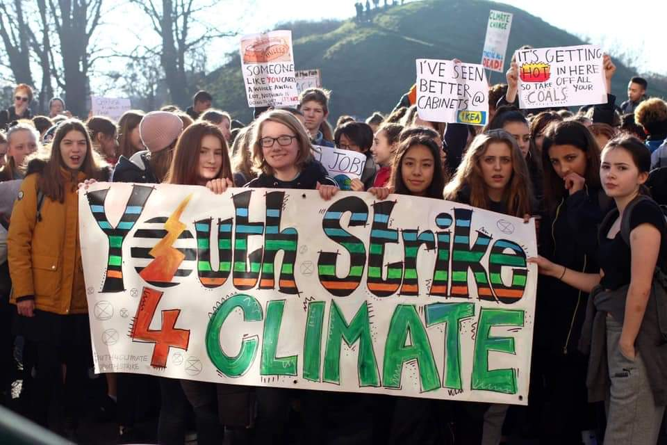 Students in Cambridge England protesting for climate action, February 15, 2019.